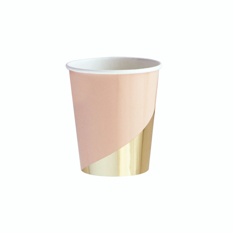 Blush Colorblock Cups - Gleaming in gold, the colorblock party cups are sweetly bold.