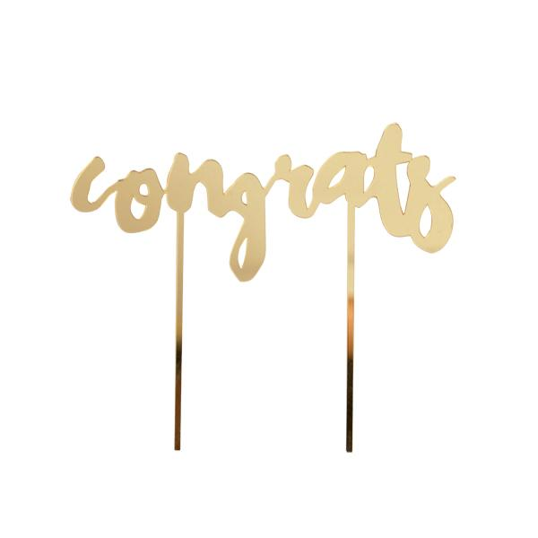 Gold-mirrored Cake Topper - You did it! Whether you are celebrating your guests or yourself for the hard work of hosting, nothing sends the right message like this shining accent piece.