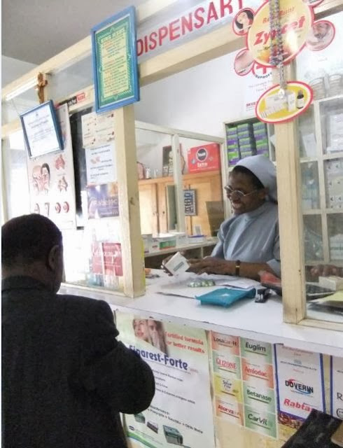 Sister Rovina at her pharmacy