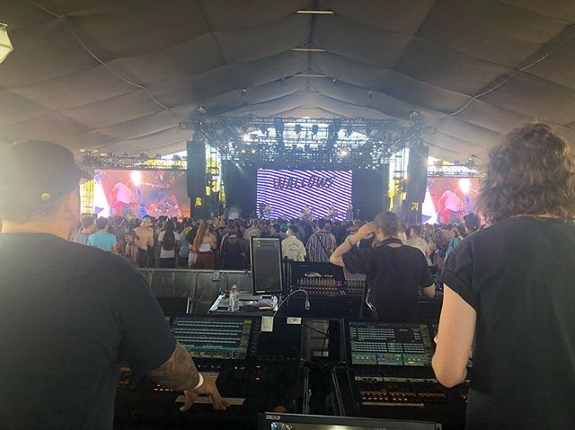 Watching @reuxlight and Landon rock out now at #Coachella #mojavestage , built by #felixlighting.
