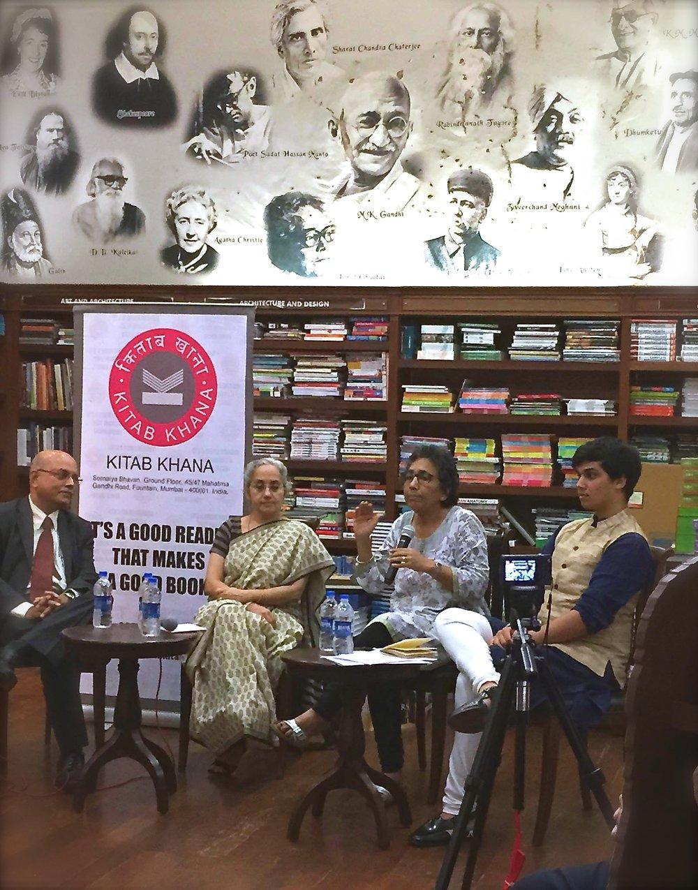 Panel Discussion at Kitab Khana, a bookstore, on The Indian Emergency, October 2015 with Kalpana Sharma, a veteran journalist,Rajni Bakshi, a writer, and Shailesh Haribhakti, a businessman.