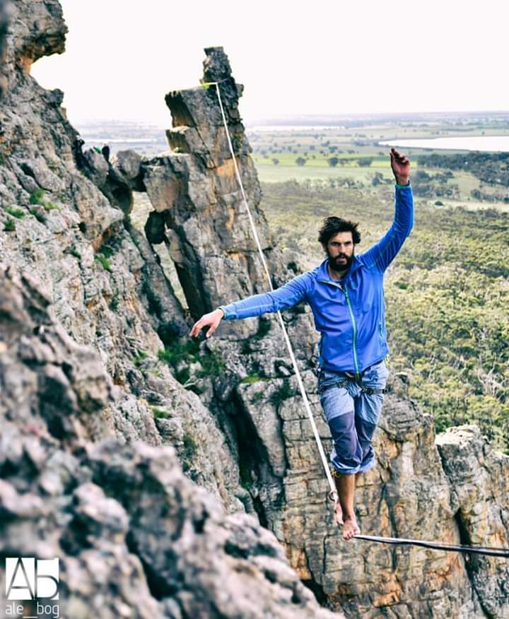 Stepan on a line at Mt Arapiles.  Alex Bog