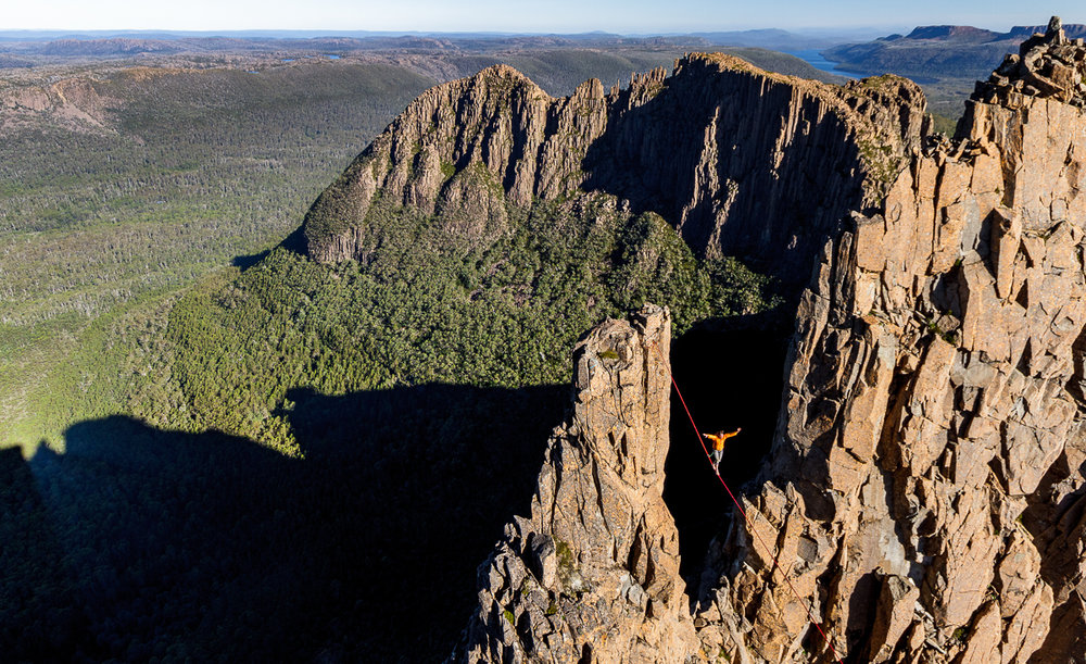 Stepan on The Book of Laughter and Forgetting, the first highline on Mt Geryon.  Simon Madden
