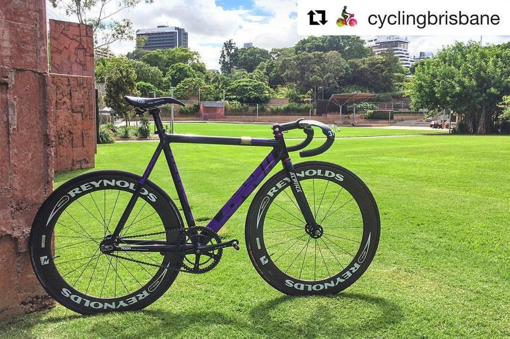 Cheers @cyclingbrisbane and @mattl_au 👊😎 . #repost @cyclingbrisbane with @repostapp ・・・ Track bikes (Fixed gear/fixed-wheel/fixies) are some of the most fun you can have on two wheels. The inability to coast makes you really think about t
