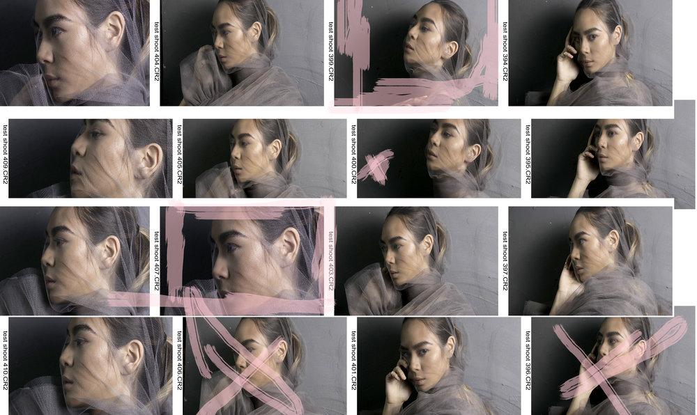 beauty test shoot contact sheet