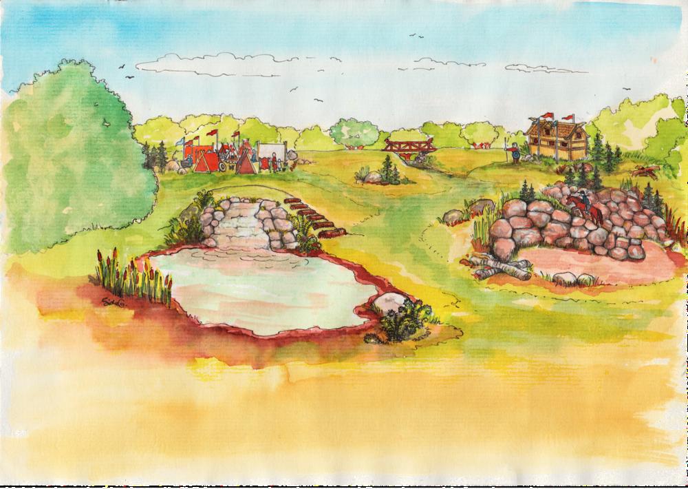 Vikingetema  Et inspirationsværk af den ene tredjedel af banen, hvor man kan se en teltlejr og en vikinge'borg' - tanken er at der ved stævner og andre arrangementer, vil være 'ægte' vikinger der bruger området, for at bidrage til stemningen.