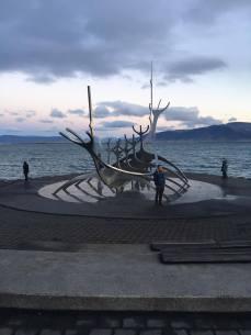 Viking Ship Sculpture on Reykjavik coastline