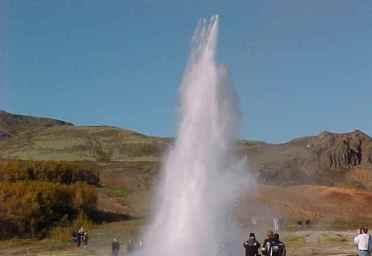 The largest geyser erupting