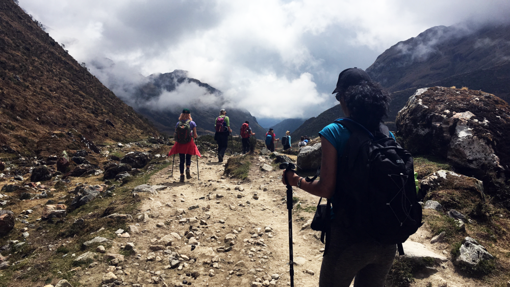 Descent from Abra Salkantay to Collpapampa, on Day 3 of the trek.
