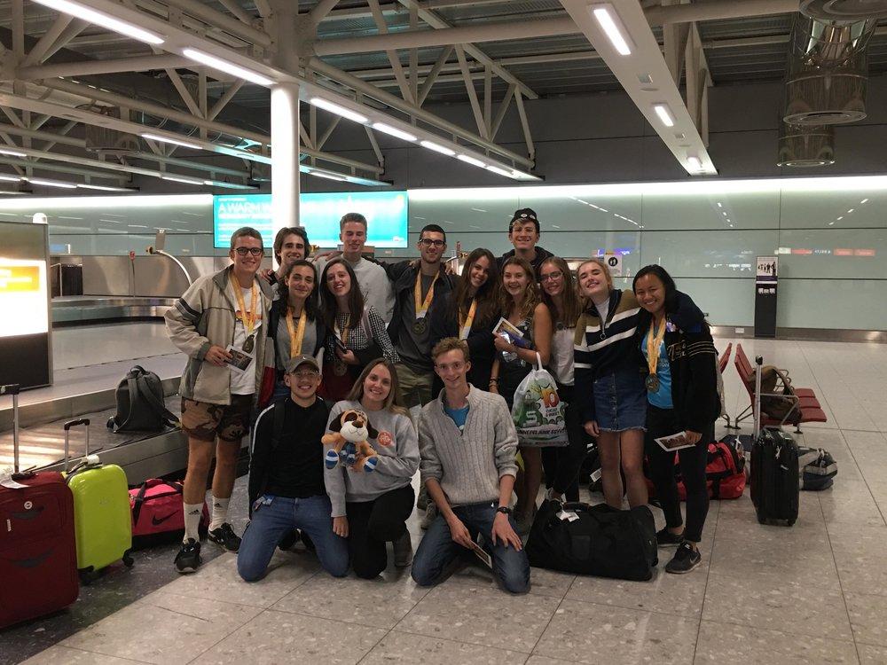 The teams final goodbyes at Heathrow.