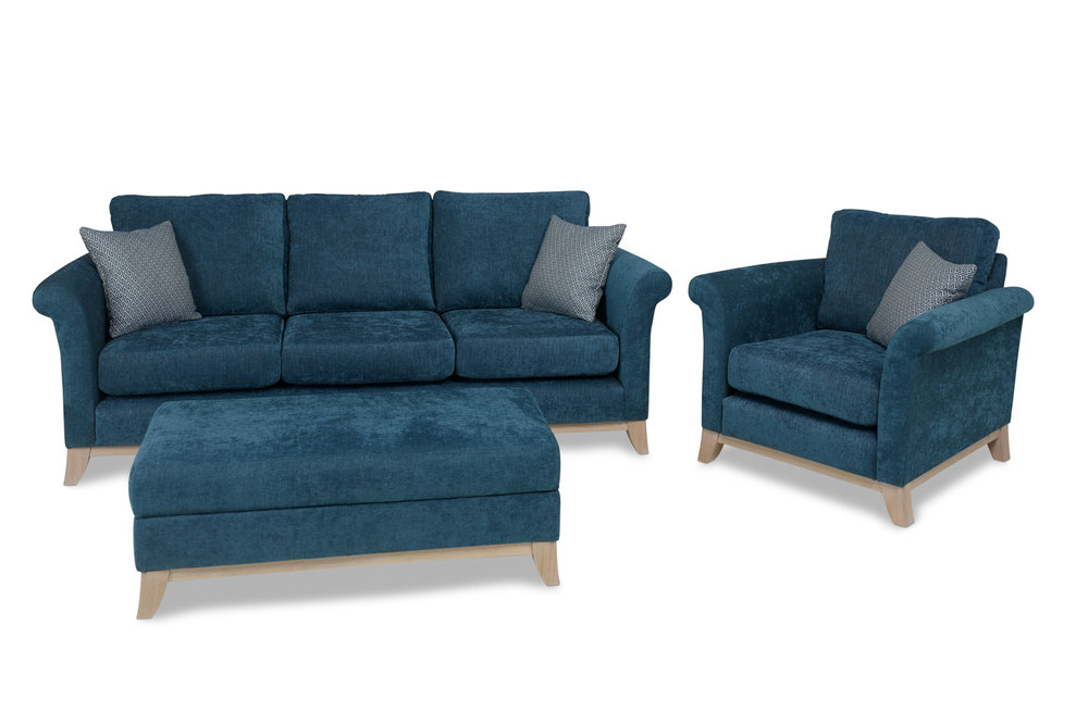 3 Seater, Chair and Large Footstool