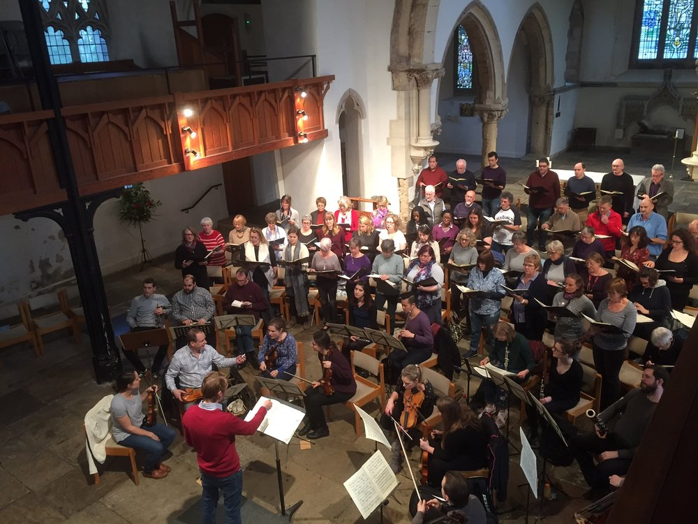 Streatham Choral and orchestra in rehearsal at St Leonard's Church