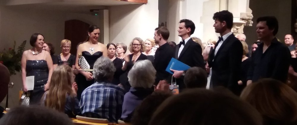 Our soloists , conductor and organist take a bow after our summer concert