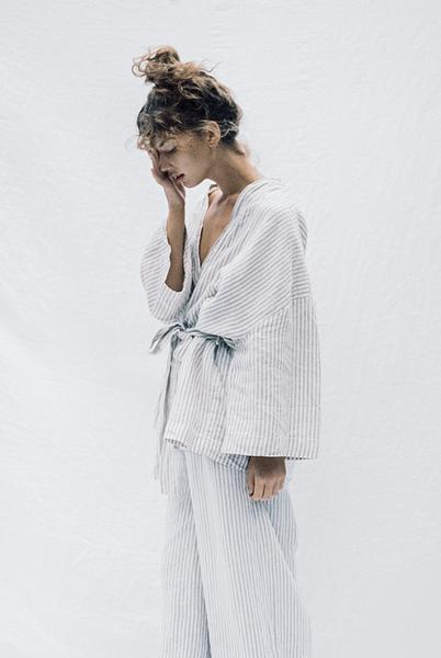 Deiji Studios - Grey Stripe Loungewear Set