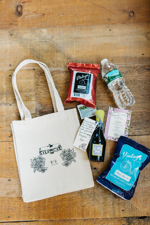 Custom, Screenprinted Canvas Welcome Bag with Original Venue Illustration   Photo By Greta Tucker