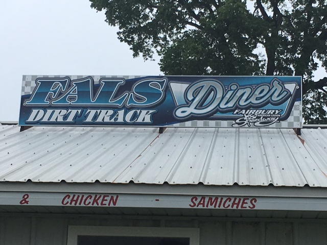 The FALS Dirt Track Diner is open the week of the Fair from 4 pm till close.  They serve your favorite grill and fryer foods, ice cream, drinks.  It is located on the NorthWest end of the grandstands.
