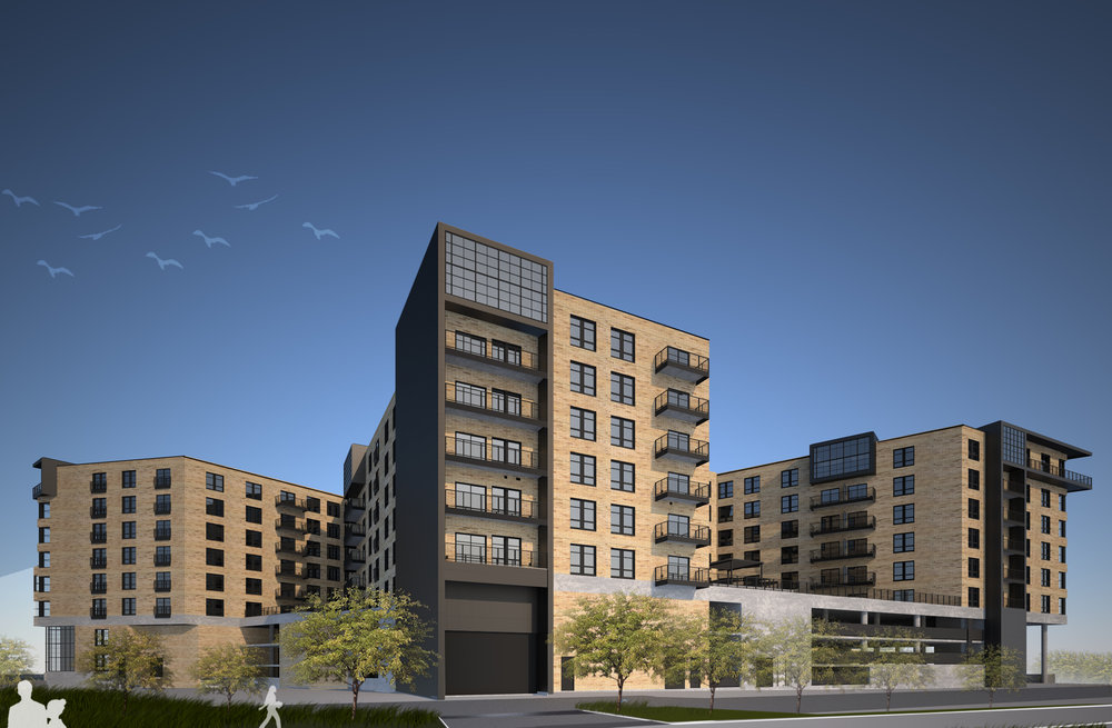Rendering of street view, Industry Apartments, Denver, CO