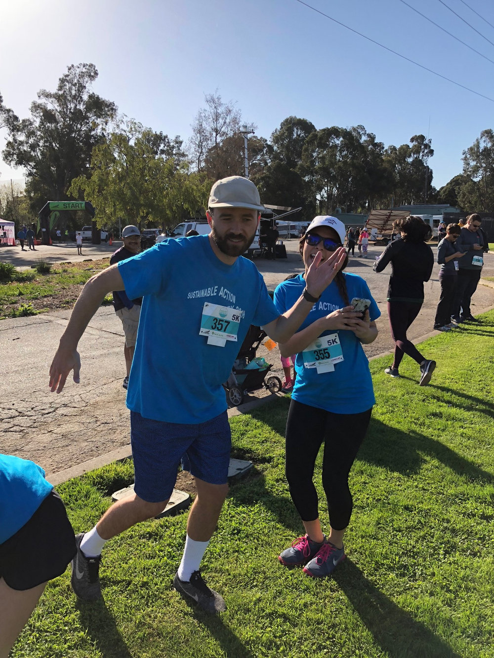 Miles and Paula warm up for the Great Race for Saving Water 5K