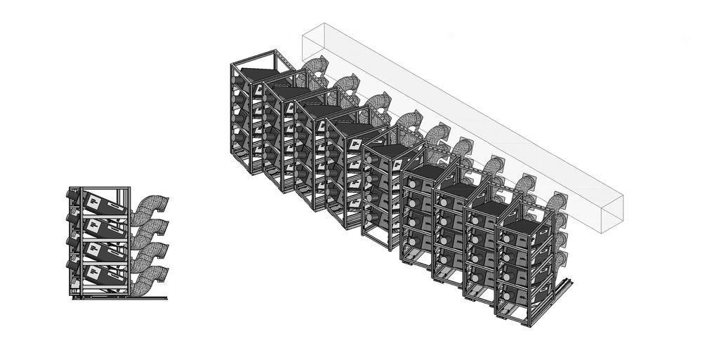 Diagram of projector racks