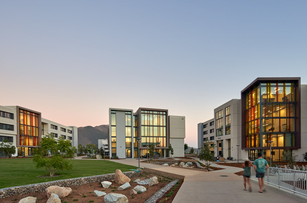 View of the Cal Poly yakʔityutyu Housing, San Luis Obispo, CA (Photo by Bruce Damonte)