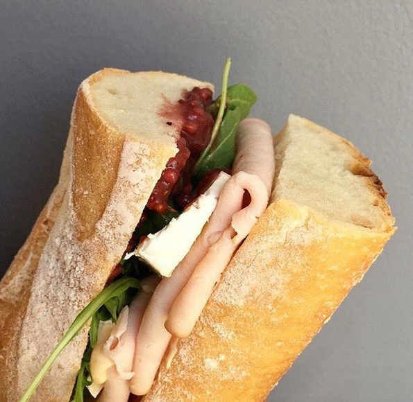 Turkey brie baguette with cranberry wine mustard. PC  @belle_baguette
