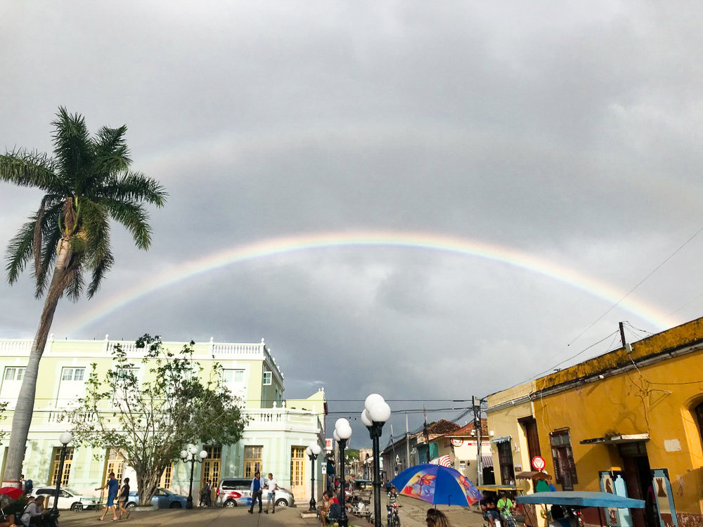 Beautiful double rainbow over Trinidad