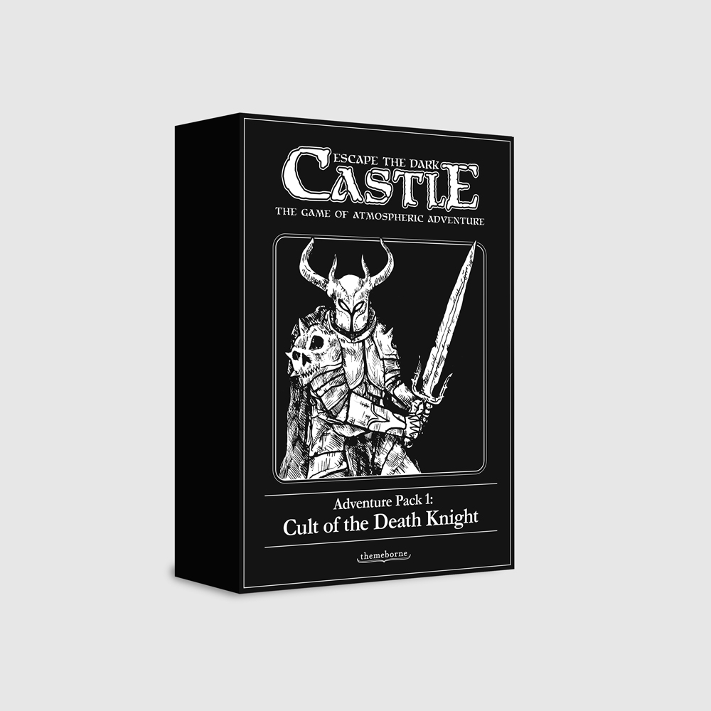 Adventure Pack 1:Cult of the Death Knight - This expansion pack for Escape the Dark Castle introduces newrules and content to expand and deepen your adventures.Contains: 3 New Characters & their Custom DiceEach a powerful specialist15 New Chapter Cards Taking you to new areas of The Dark Castle1 New Boss CardThe Death Knight himself, Lord of Decay5 New Item Cards Introducing Curses, terrible afflictionsto thwart your progress1 Custom Cultist DicePray you won't need to roll it