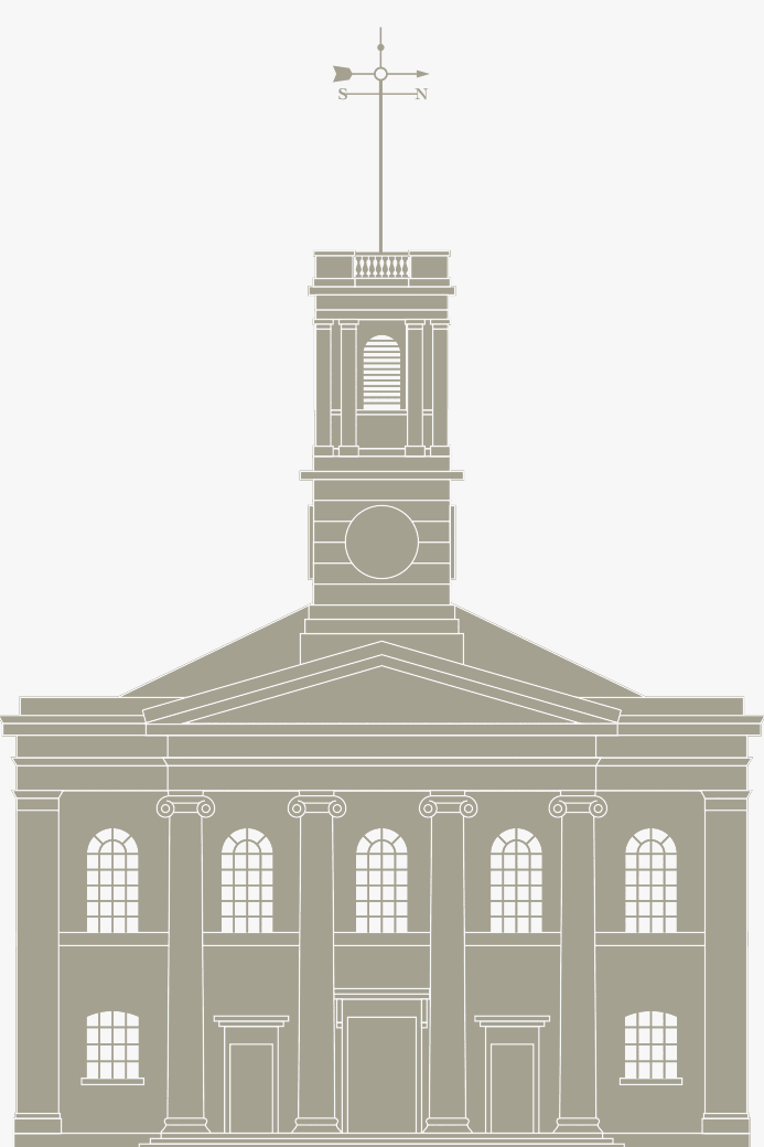 Illustration showing the front elevation of a restored Sheerness dockyard church