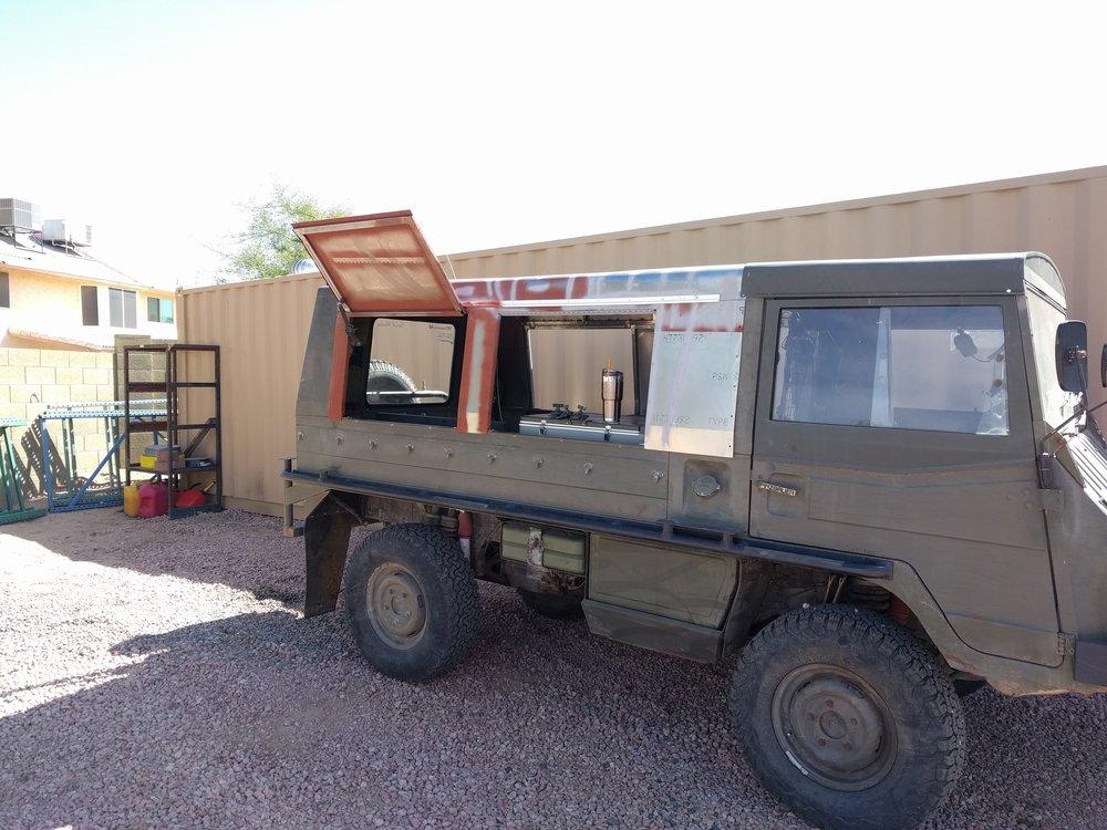 Aft hardtop build in process with 4 doors