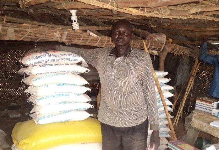 Inside Deng's shop in South Sudan