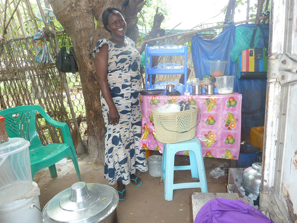 Mary at her new microenterprise near Juba.