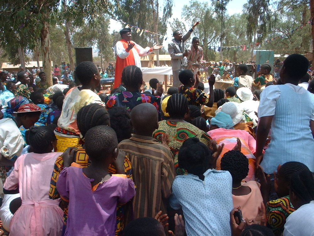 Bishop Simon Chiwanga during an open air prayer meeting in Mpwampwa.