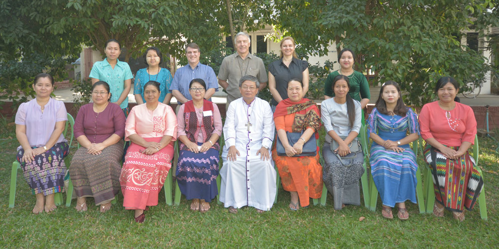 Archbishop Steven with Mothers' Union Leaders and Five Talents trainers in Myanmar.