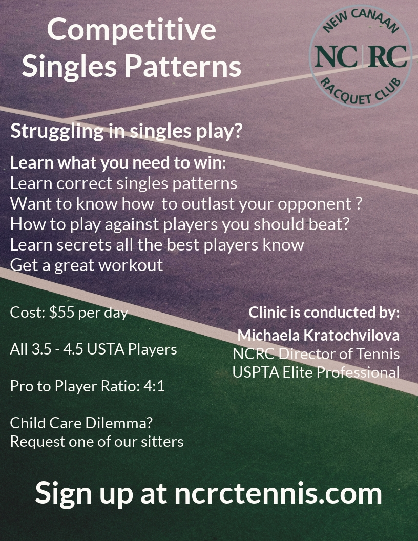 - Singles strategy clinic: Wednesdays from 1:30 - 3:00 pm. The practice will consist of drills that reinforce the correct patterns of singles. $55/pp