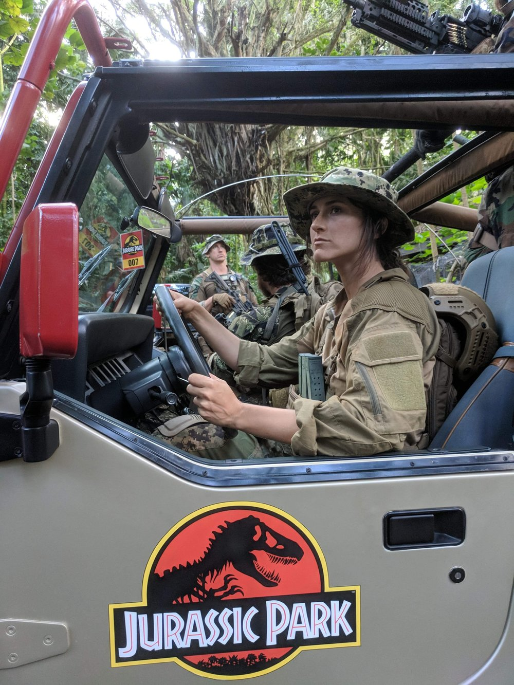 Shannon Corbeil at the wheel of Sidney Okamoto's  Jurassic Park  jeep.