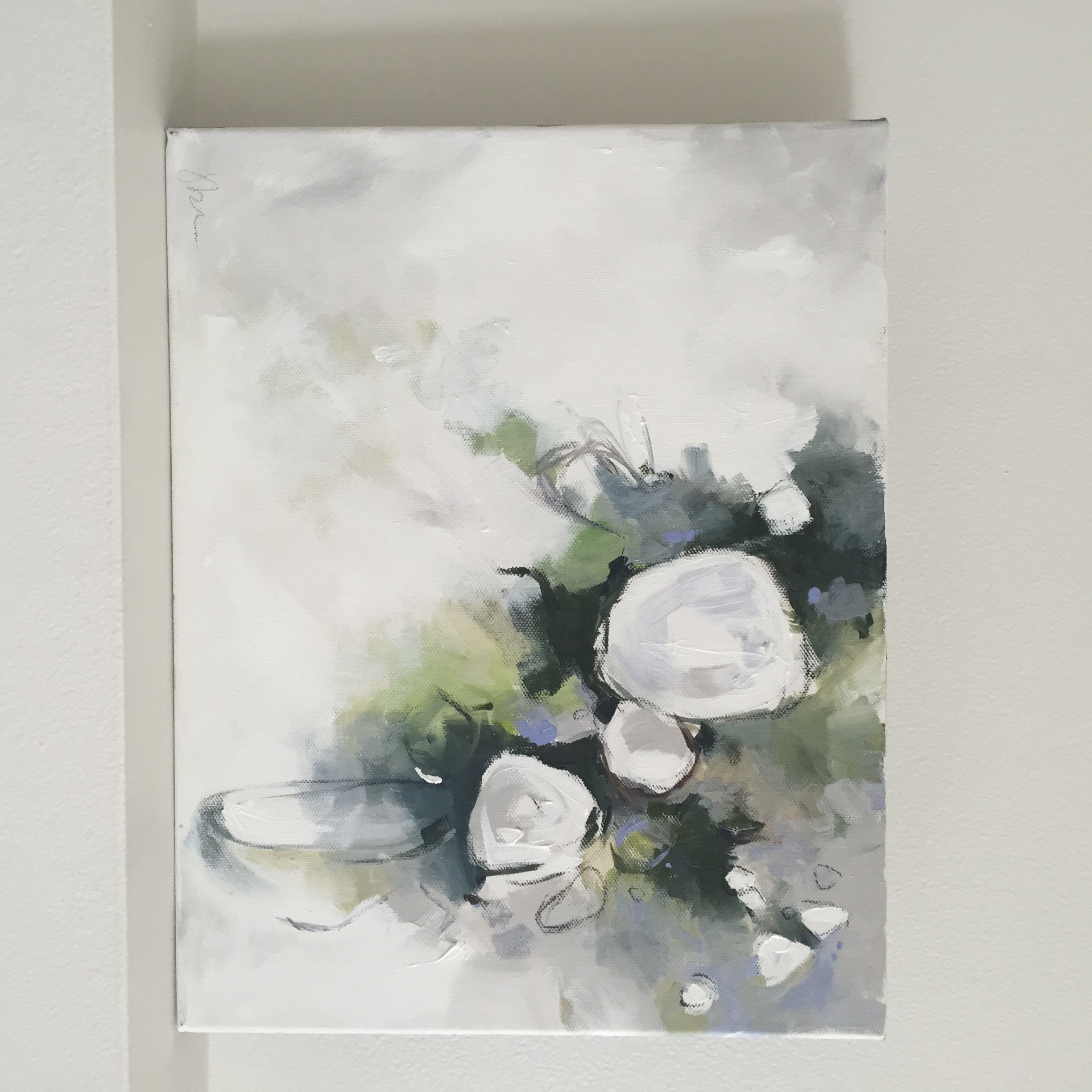 """""""Madame Emile Mouillere"""" 11""""x14"""" Mixed Media on Canvas - Abstract Flower Hydrangea Art"""