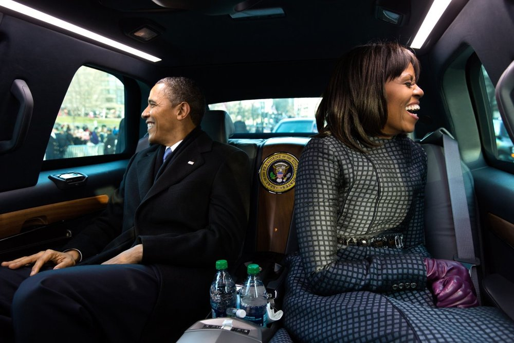 Obamas in limo