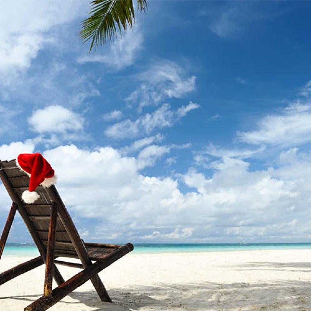 Santa hat on beach chair