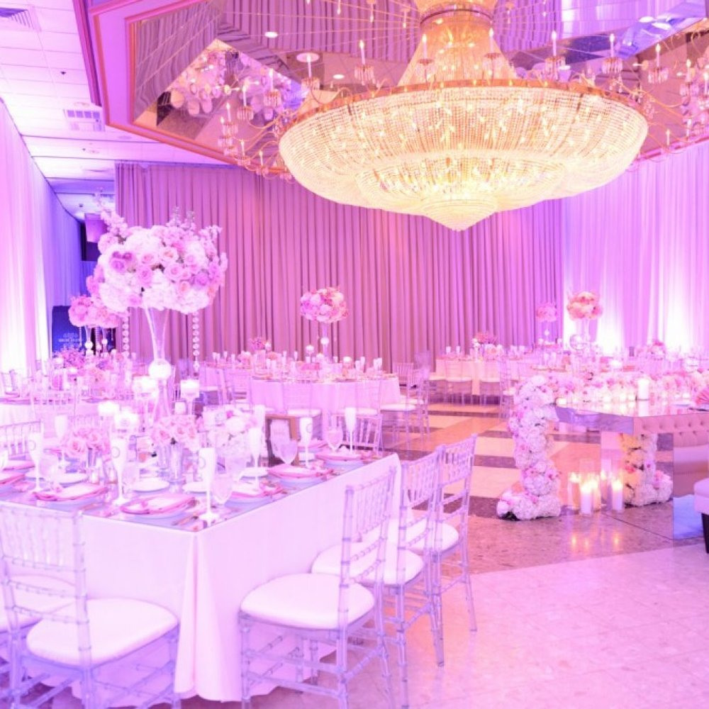 Wedding Reception with Purple Lights