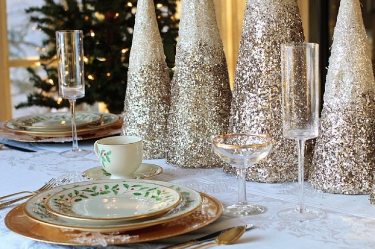 Table with Christmas Decor