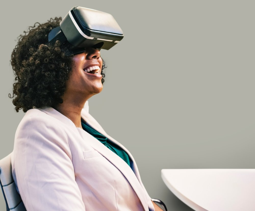 Woman In VR Goggles Andrew Roby Events