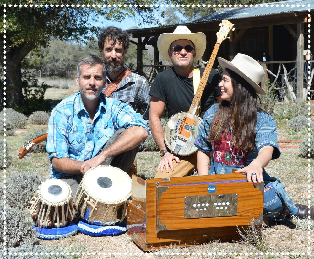 Chaparral Kirtan Band in Prescott, AZ: Gabrielle Pietrangelo (harmonium)Will Duncan (tablas)Bradford Trojan (guitar)& Hadji Banjovi (bowed-banjo) p  hoto by Casey Ackerley