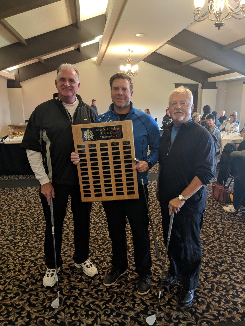 Men's First Place: Joe Naar, Brian Kocsis & Gary Snider