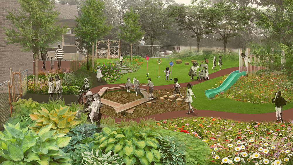 The     Rochester ChildFirst Network Playground Master Plan     (above) emphasizes inclusive play, exploration, and a diversity of activity opportunities for children of all ages and mobility levels.