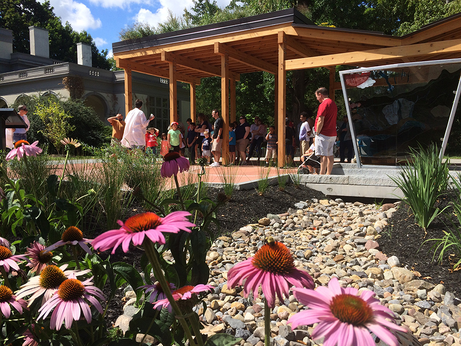 The      Regional Green Infrastructure Showcase at the Rochester Museum & Science Center       (RMSC) embeds a natural systems approach to storm water management within an attractive and sustainable urban public space.