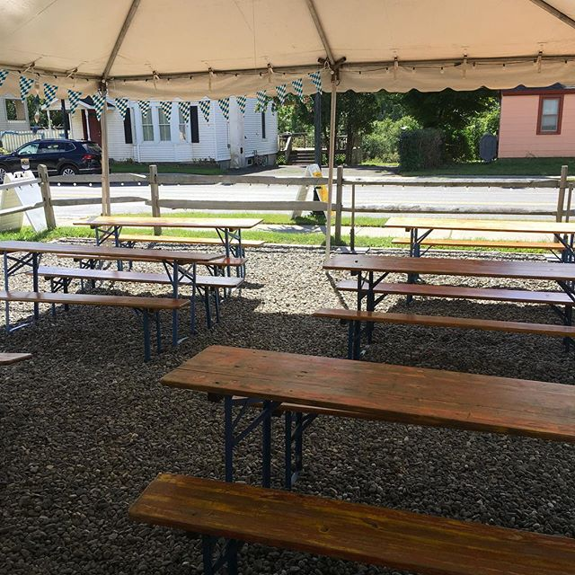 We are open regular hours today 3pm - 10pm.  Come fill up the tent for what's going to be a beautiful evening! #hunterny #catskills #beer #germanfood