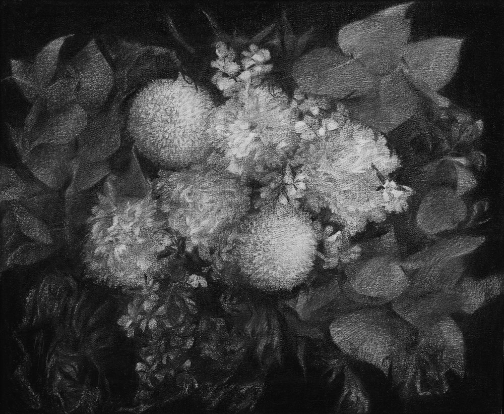 """Clouds I    Charcoal on canvas 2018 30cm x 40cm  sold. Exhibited at Art Porters Gallery """"Flower Flights"""" solo exhibition.  past series:  Flower Flights"""