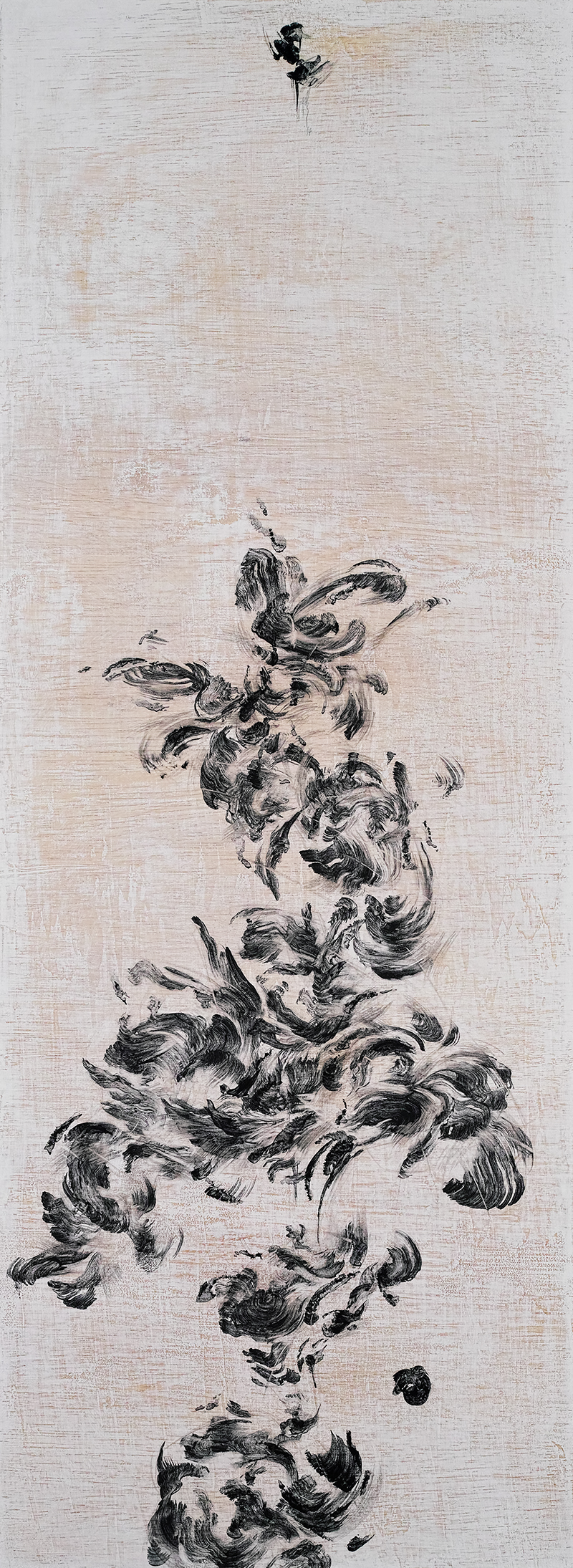 "Flower Flights II    Charcoal on wood 2018 110cm x 40cm  Exhibited at Art Porters Gallery ""Flower Flights"" solo exhibition.  past series:  Flower Flights"