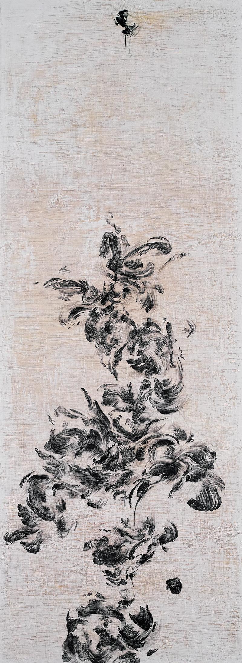 "Flower Flights II    Charcoal on wood 2018 110cm x 40cm  Exhibited at Art Porters Gallery ""Flower Flights"" solo exhibition.  past series:  Flower Flights"