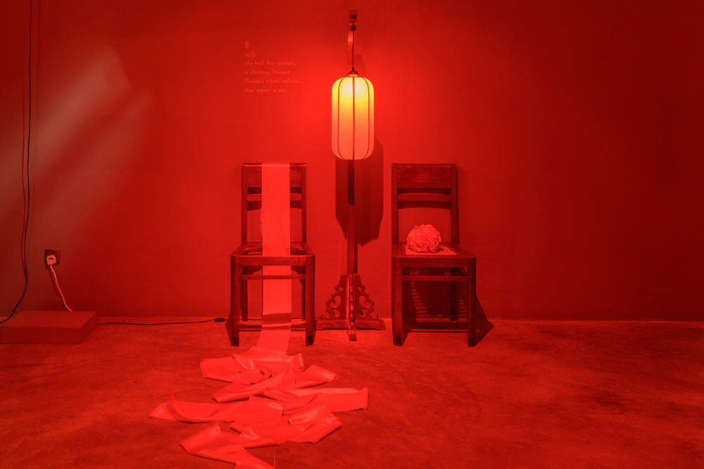"""Wife - Stories of a Woman and Her Dowry""    Lantern, teak chairs, red ribbons 2019 Installation  Solo exhibition at Grey Projects Singapore. Artist Collection.  past series: Stories of a Woman and Her Dowry"